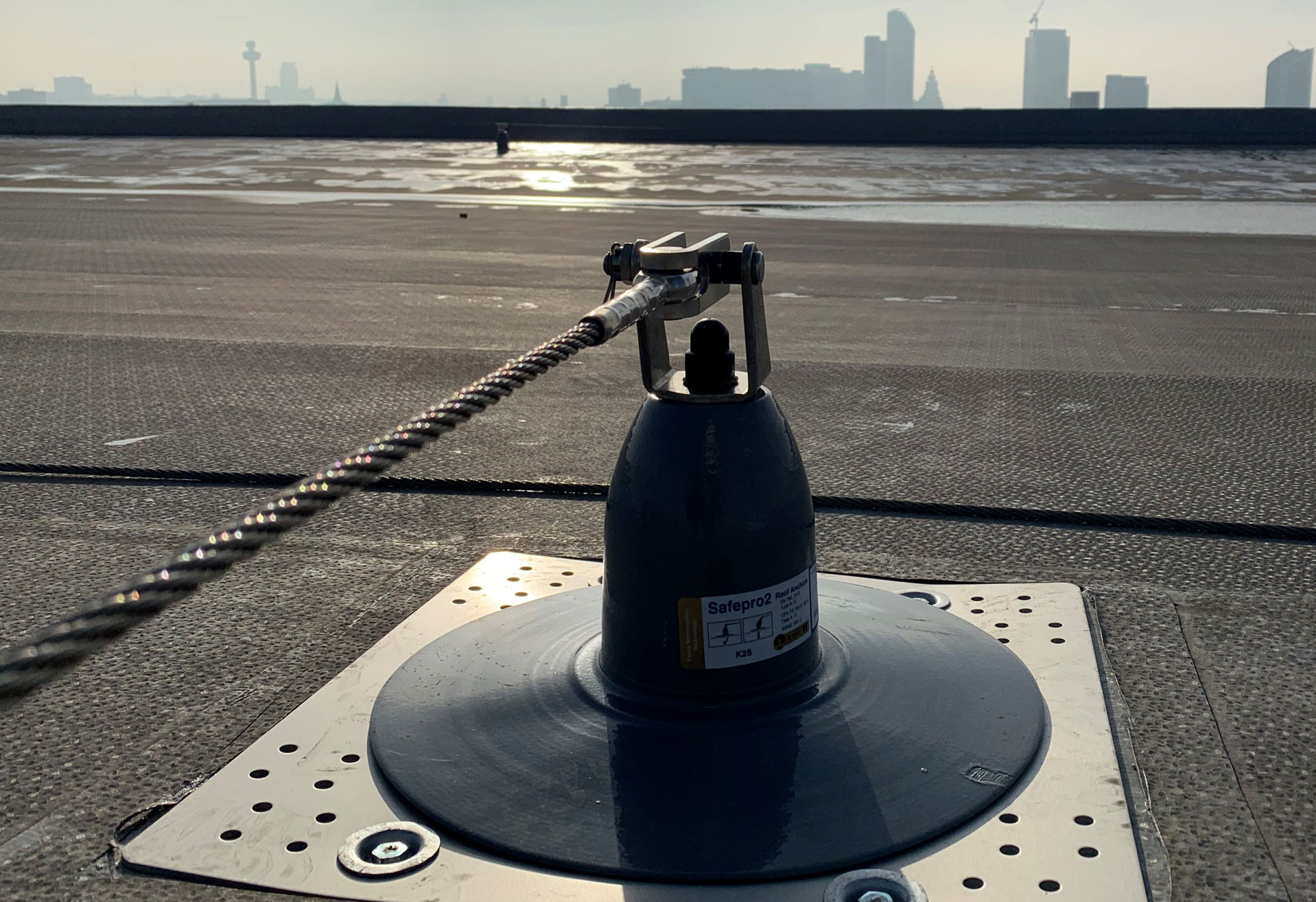 Safety Line System with Liverpool skyline in the background