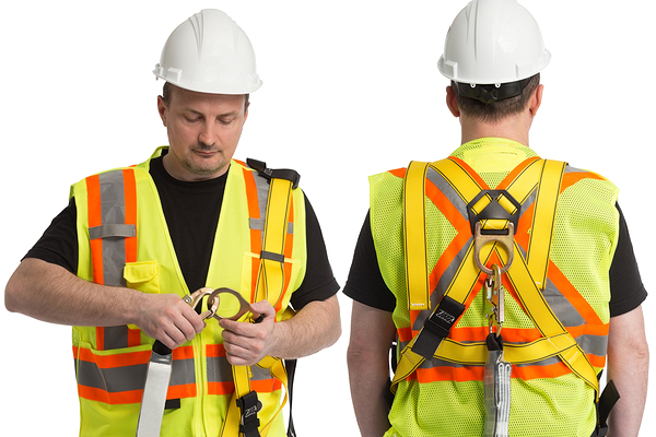 Work at Height operative adjusting harness