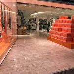 Christmas present boxes in entrance to Selfridges