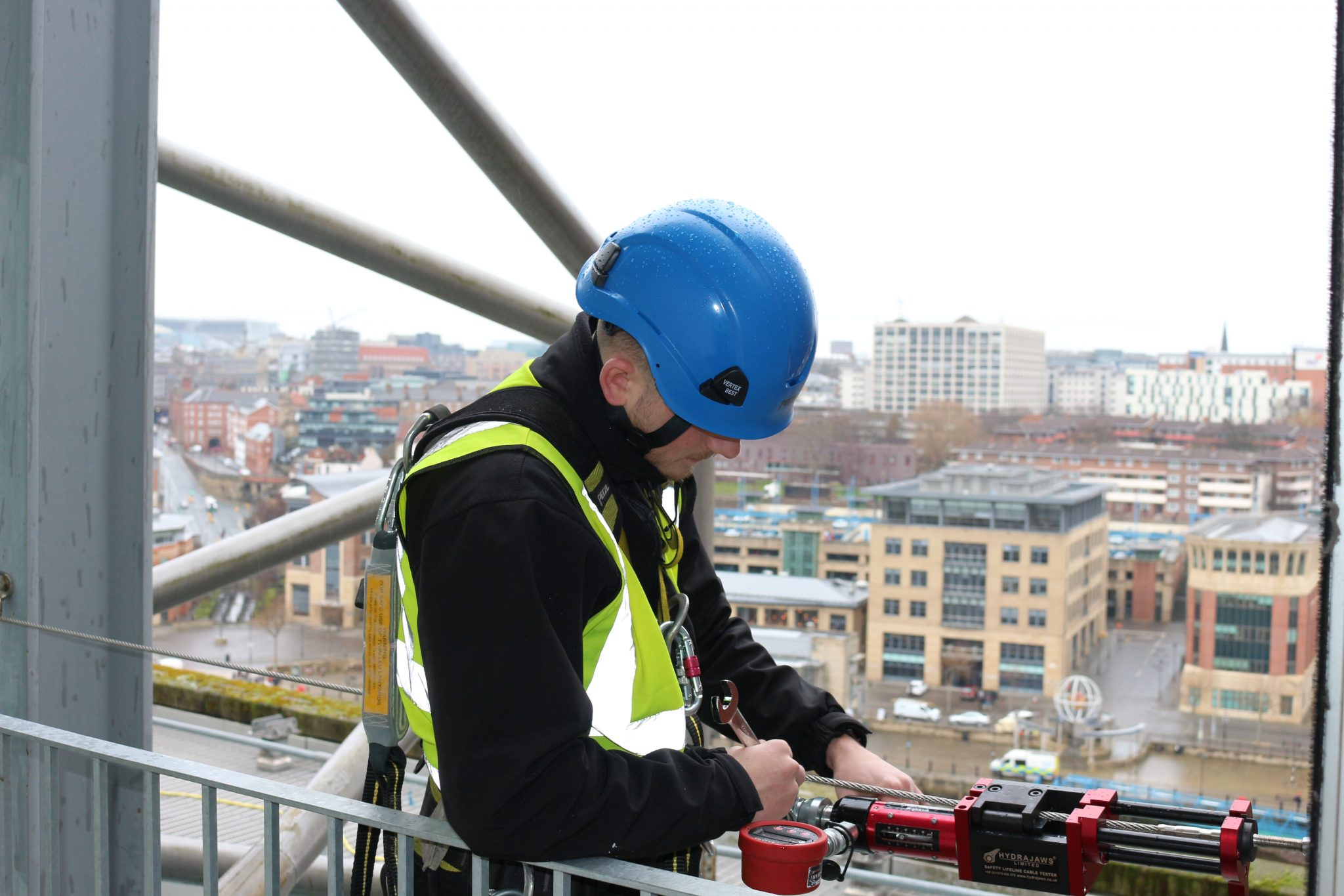Height safety operative conducting Compliance Testing of a Safety Line