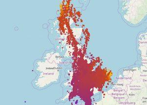 UK Lightning strike map
