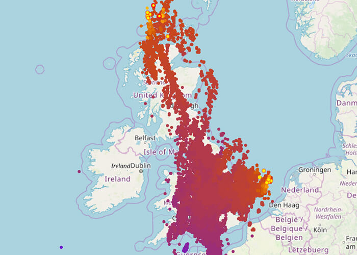UK Lightning strike map