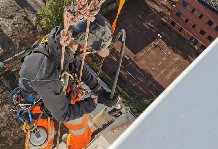 Work at Height personnel attached to Abseil Monorail system