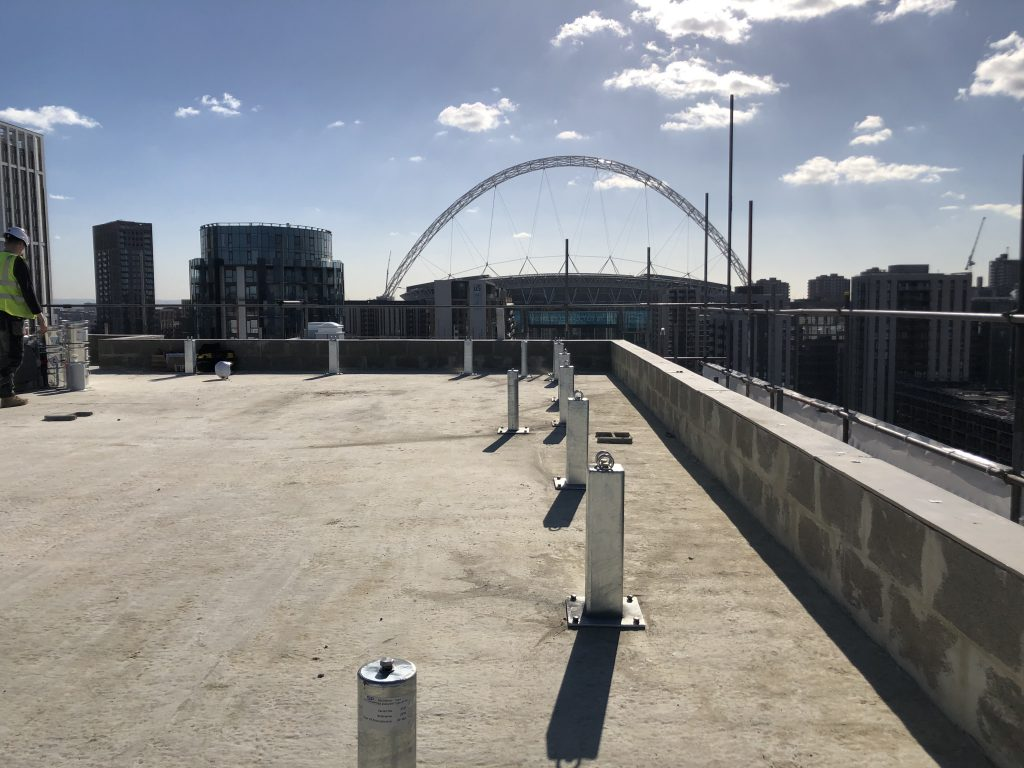 Heightsafe twin anchor points abseil anchor posts bieng installed at Olympic way london