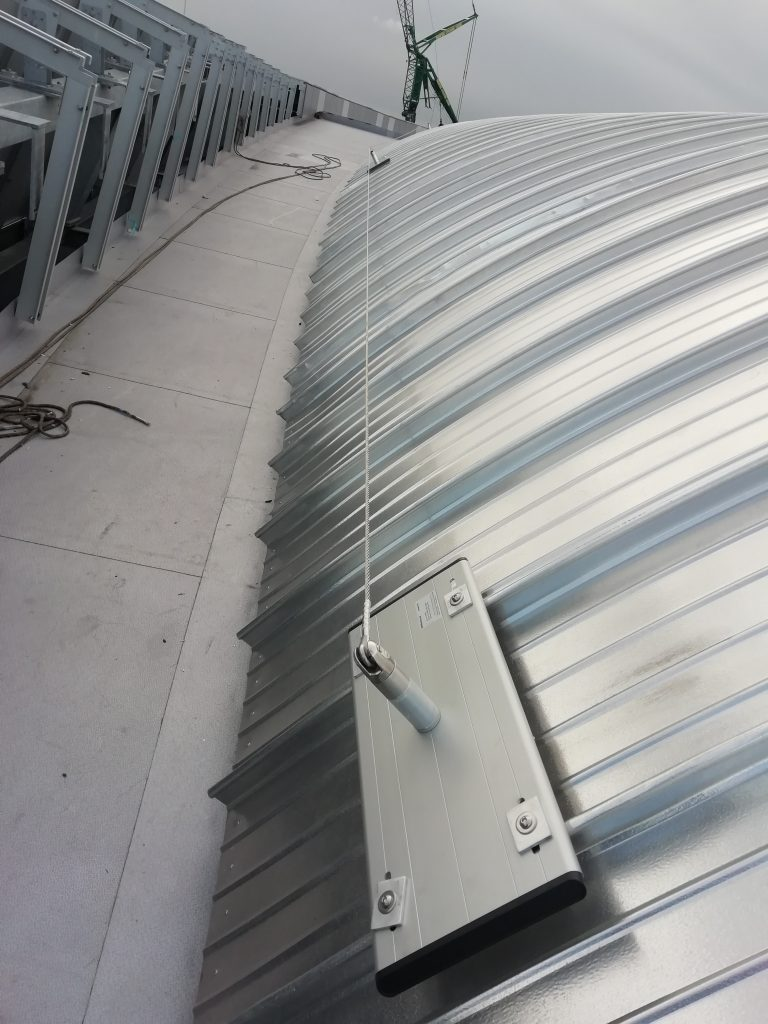 Safety Line System  as part of stadium installation works at Tottenham Hotspur Stadium by Heightsafe on their roof to allow thier maintenance works safe access.