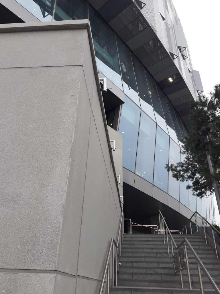 Discreet Guardrail system as part of stadium installation works by Heightsafe Systems at Tottenham Hotspur Stadium to allow gardeners and maintenance workers safe access.