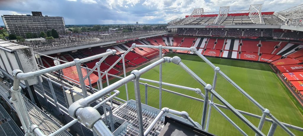 Heightsafe attend Old Trafford  as part of stadium installation works including safety lines, access ladders, gantry and walkway systems