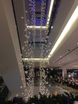 Christmas lights hanging from ceiling