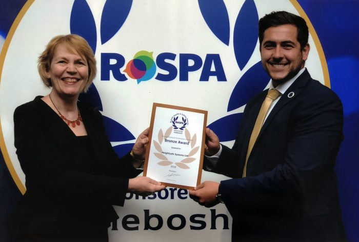 Craig Diable collecting the ROSPA Bronze Award for Heightsafe Systems Ltd